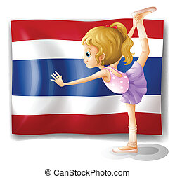 A ballet dancer in front of the Thailand flag