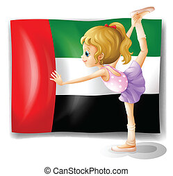 A ballet dancer in front of the UAE flag