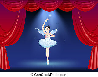 A ballet dancer in the middle of the stage
