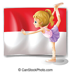 A ballet dancer performing in front of the Indonesian flag