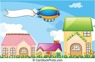 a, balloon, מעל, ה, כפר, עם, an, ריק, דגל