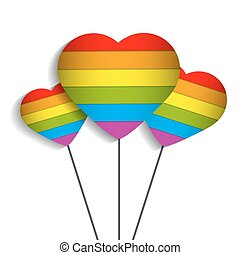 a balloon as a heart with an image of the rainbow symbol minorit