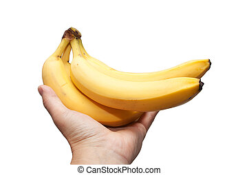 a banana in his hand on a white background