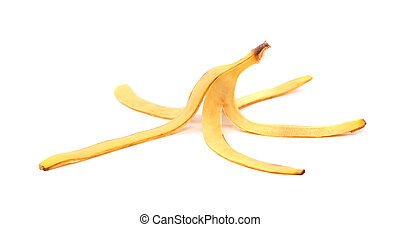 A banana skin close-up on the white background