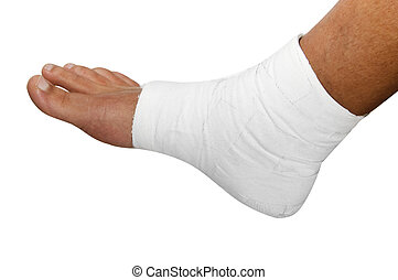 a bandaged foot on a white background
