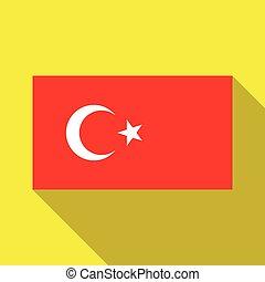 a, bandeira, de, peru, ligado, um, fundo amarelo, com, longo, sombra
