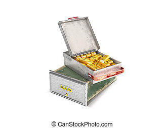 a bank cell with gold bars.3d illustration