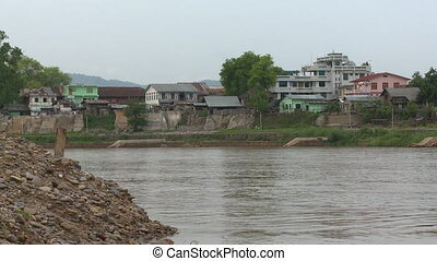 An wide shot of a river close to a settlement