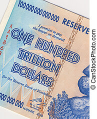 A banknote of one hundred trillion dollars, from Zimbabwe. This banknote has the highest nominal value in history. The hyper-inflation in Zimbabwe in 2008 and 2009 broke every record.