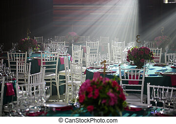 banquet hall or other function facility set for fine dining.