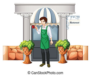 A barista outside the restaurant - Illustration of a barista...