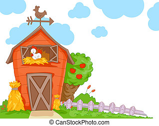 A Cute Barn With a Clear View of the Chicken Nesting Inside for Background