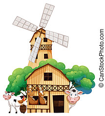 A barn at the farm with animals