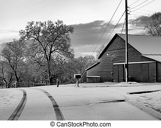 A barn in the winter
