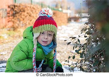 a, barn, med, hans, vinter, mössa