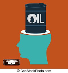 A barrel of oil in an open head. Thoughts on the price of oil. Trade on the oil exchange.