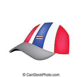A Baseball Cap of Thai Flag on White Background