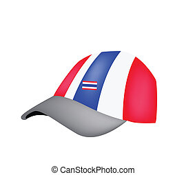 A Baseball Cap of Thai Flag on White Background