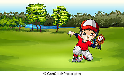 A baseball catcher at the field