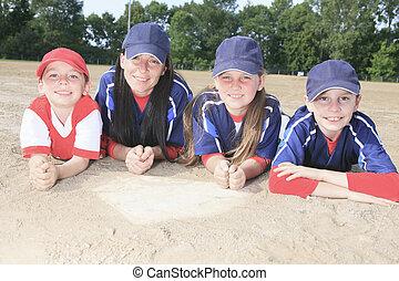 A Baseball team lay on the ground