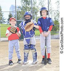 A baseball team of children play this sport