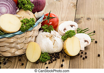 A basket filled with different vegetables