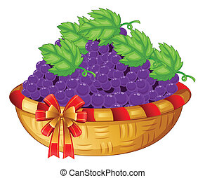 A basket of grapes - Illustration of a basket of grapes on a...