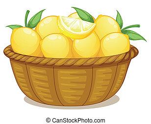 A basket of lemons - Illustration of a basket of lemons on a...