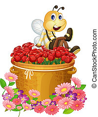 A basket of red roses with a big bee - Illustration of a...