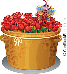 A basket of roses with a butterfly