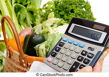 basket of vegetables with a calculator