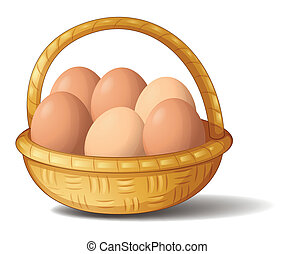 A basket with six eggs - Illustration of a basket with six...