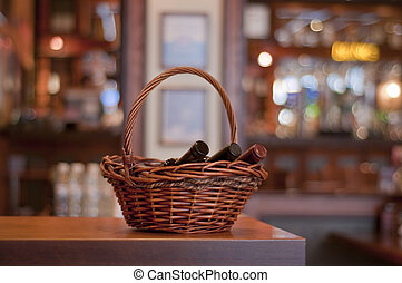 basket with wine bottles