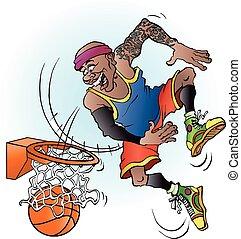 A basketball player dunking
