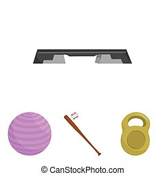 A bat with a ball for baseball, a weight for muscles, a ball for playing, a bench for fitness. Sport set collection icons in cartoon style vector symbol stock illustration web.