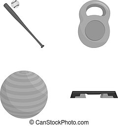 A bat with a ball for baseball, a weight for muscles, a ball for playing, a bench for fitness. Sport set collection icons in monochrome style vector symbol stock illustration web.