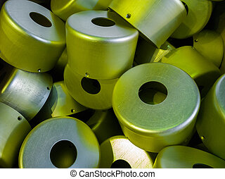 a batch of sulfur oxidated anodized aluminium parts.