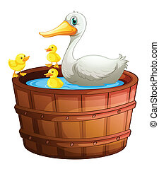 A bathtub with ducks