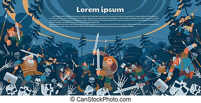 A battle between the northerners and the armies of the dead. Poster, banner fictional medieval fantastic warriors battle scene. Vector flat style illustration