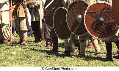 A battle. The fight of the Vikings. Medieval warriors. Shot...