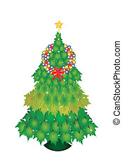 A Baubles Wreath on Christmas Tree