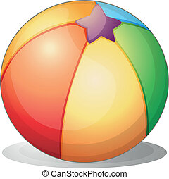 A beach ball - Illustration of a beach ball on a white...