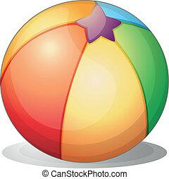 A beach ball - Illustration of a beach ball on a white...