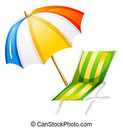 A beach bed and umbrella