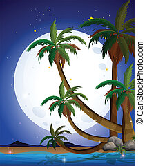 A beach with a bright fullmoon