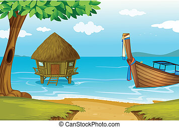 A beach with a cottage and a wooden boat - Illustration of a...