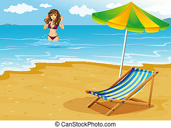 A beach with a lady in a purple bikini - Illustration of a...