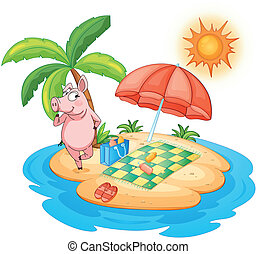 A beach with a pig enjoying summer