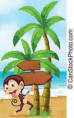 A beach with a playful monkey near the palm trees -...