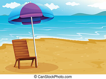 A beach with a relaxing wooden chair under an umbrella